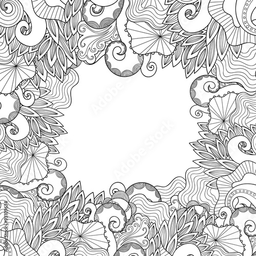 Waves And Whale Illustration Marine Hand Drawn Pattern Vector