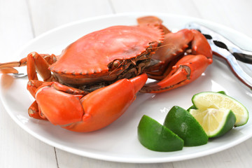 steamed mud crab, male