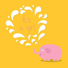 Its a girl. Baby shower card with elephant and fountain. Flat design
