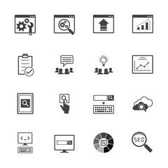 Big data icons set, SEO concept