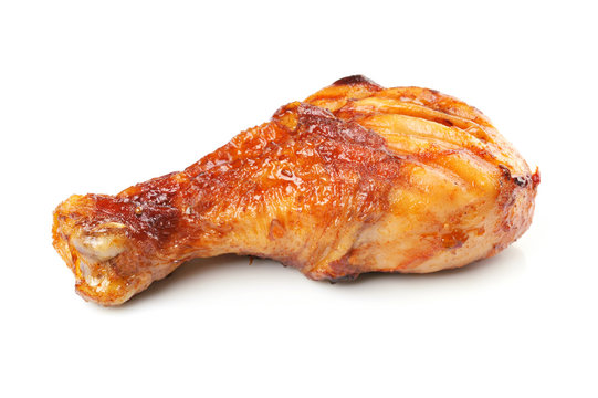 Roasted chicken drumstick isolated on white background