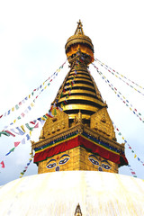 view of Swayambhunath temple, wisdom eyes in Nepal