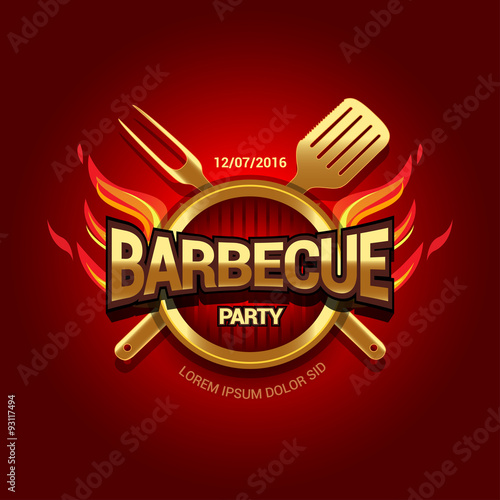 """Barbecue party logo, party invitation template. Vector ..."