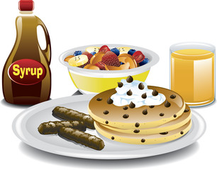 Illustration of a complete breakfast with chocolate chip pancakes, sausage, fruit bowl and orange juice.