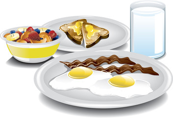 Illustration of a complete breakfast with fried eggs, bacon, a fruit bowl, buttered toast and a glass of milk.