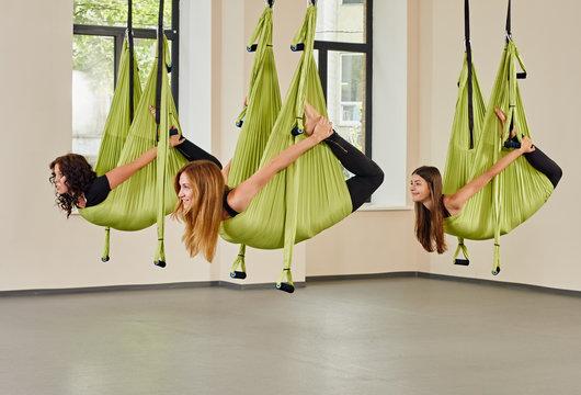 Aerial yoga women exercise