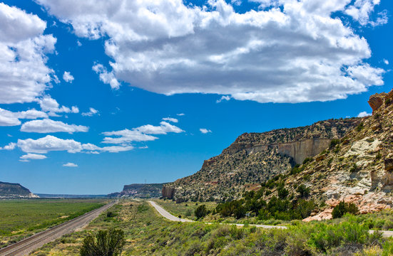 U.S.A. New Mexico, landscapes from the Route 66 between Gallup and Arizona