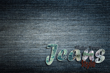 Jeans word on denim background