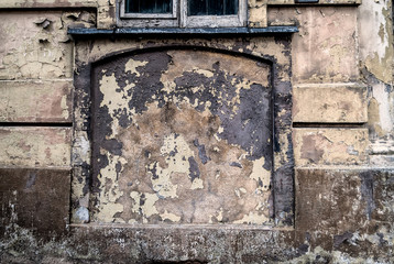 abstract corroded colorful wallpaper crack grunge background iron rusty artistic wall peeling paint and old window