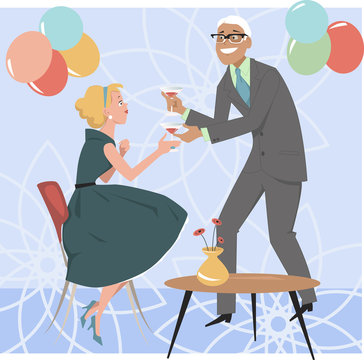 Man bringing a cocktail to a woman at a 1950s cocktail party, EPS 8 vector illustration