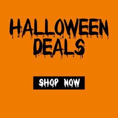 halloween sale deals shop now button web banner orange background