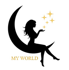 pretty silhouette of a girl with long hair sitting on the moon and holding a star