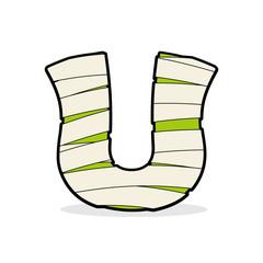 Letter U Monster zombie. Alphabetical icon medical bandages. Egy
