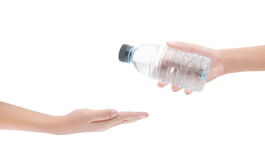 Hands and bottle of water on white background