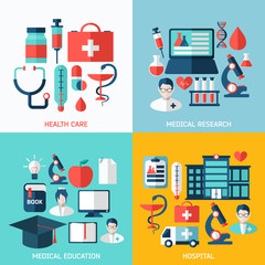 Set of bright flat vector medical icons.