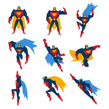 Superman Poses Set Vector Illustration