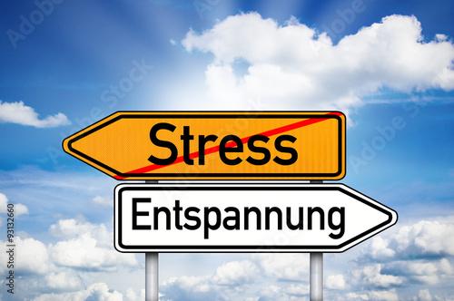 Schild Mit Stress Und Entspannung Stock Photo And Royalty Free
