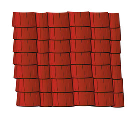 Vector texture illustration of red clay roof tiles, slate.