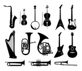 Silhouettes of Musical Instruments in black and white isolated, Vector Illustrations