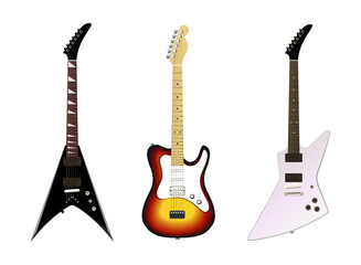 Electric Guitars isolated on white background, Vector Illustrations for Rock and Metal band