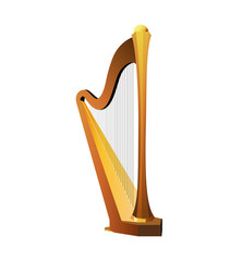 Celtic Harp Isolated on white background, Vector Illustration of National Irish String Musical Instrument