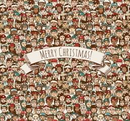 Merry Christmas! - Menschenmasse mit Mützen und Schals an Weihnachten