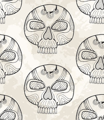 Graphic Mexico pattern with skull, vector ethnic background for mexican day of the dead, dia de los muertos calavera pattern