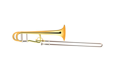 Trombone - Brass Musical Instrument, Vector Illustration isolated on white