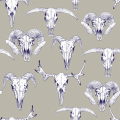 Seamless pattern with skulls of deer, bull, goat and sheep. Line drawing of skulls. Mystical background for your design.