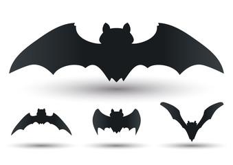 Flying Bats Silhouetes Set, Vector Illustration