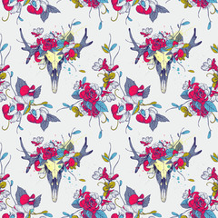 Seamless pattern.Skull of deer in flowers. Vintage and hipster style. Vector illustration, hatching lines.