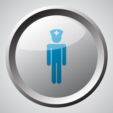 Web button with blue Doctor icon