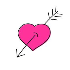 Heart with an arrow - hand drawn  vector illustration