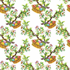 Watercolor seamless easter pattern with colorful eggs. Hand