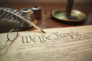 United States Constitution with quill, glasses and candle holder Wall mural