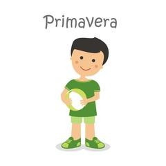 Niño jugando al balón un día de primavera ESP