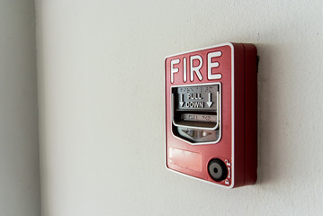 An  Fire Alarm near door fire .