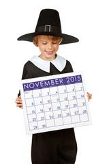 Thanksgiving: Pilgrim Holding Calendar for 2015