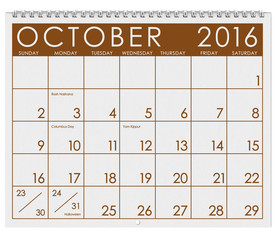 2016 Calendar: Month Of October With Halloween