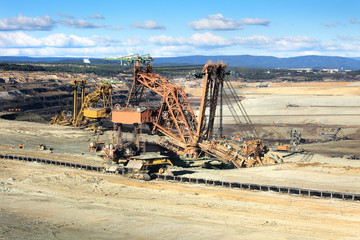 Excavator at the iron ore opencast mining