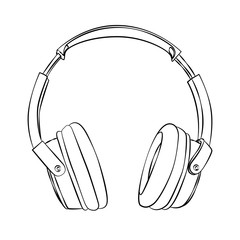 vector hand-drawn sketch of headphones against white background