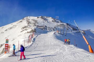 Skipiste bei Ischgl, Tirol, Österreich