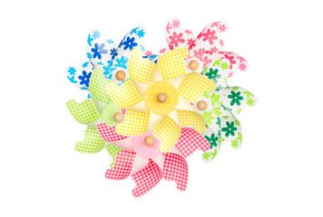 Colorful pinwheels isolated on white background