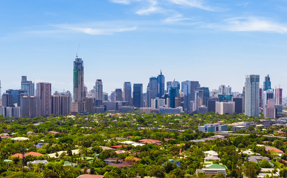 Aerial view on Makati city - Modern financial and business district of Metro Manila, Philippines.