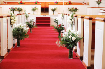 church decorated for wedding ceremony