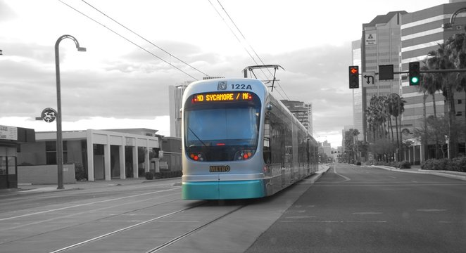 City train in Phoenix and in colorsplash.
