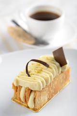 High tea with a Napoleon cake and coffee