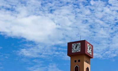 Deurstickers Route 66 Orange Clock Tower on the Sky Background