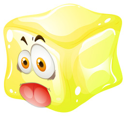 Yellow cube with silly face
