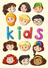Happy children smiling faces